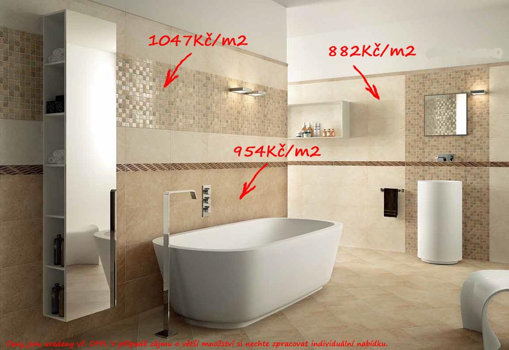 Obklady a dlažba do koupelny Naxos Desert Ivory, Land & Brown