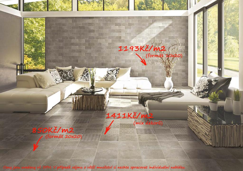 Slinutá dlažba s cementovým designem CIR - Riabita il Cotto - Natural & Natural Fabric Natural
