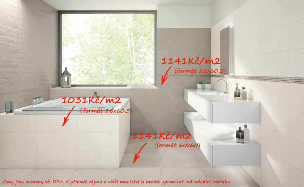 Bílá koupelna Naxos Le Marais Milk, Grey & Crystal Grey