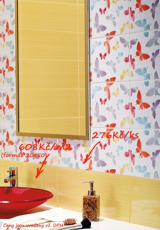 Obklady do malé koupelny inspirace Ceramic Summer Sun & Dec. Flying