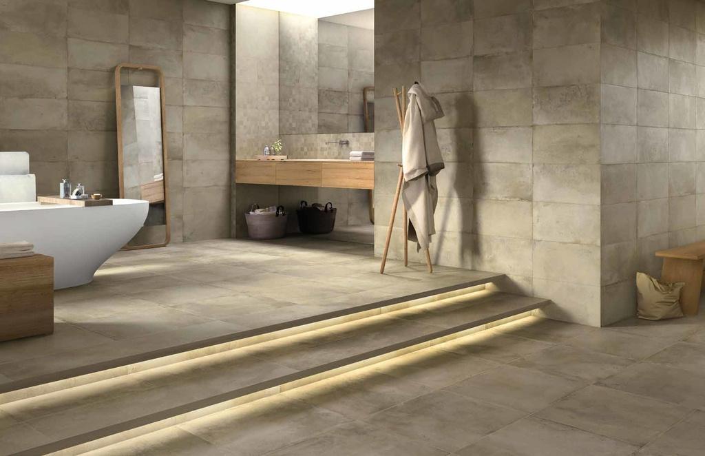 Dlažba nejen do koupelny Monocibec One Noyer & Mosaico su rete