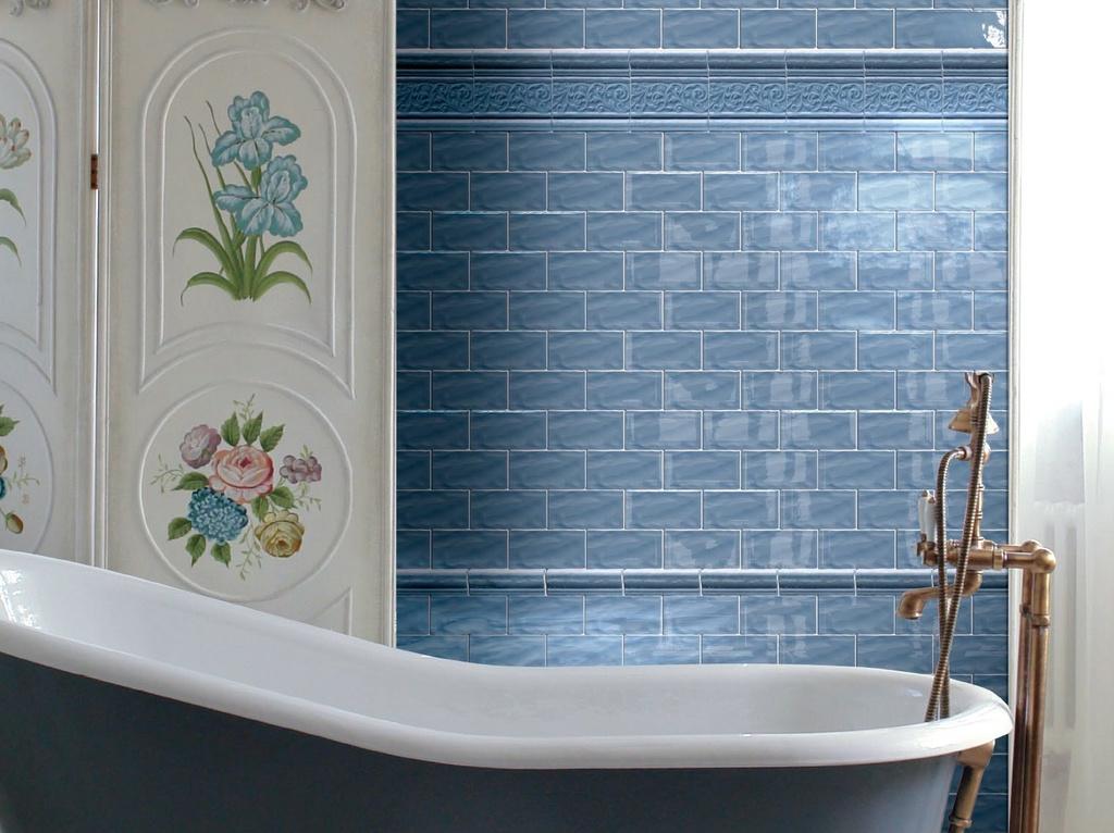 Panelákové koupelny realizace a nápady jsou právě představeny zde v kolekci Brennero Lab Ricciolo Light Blue