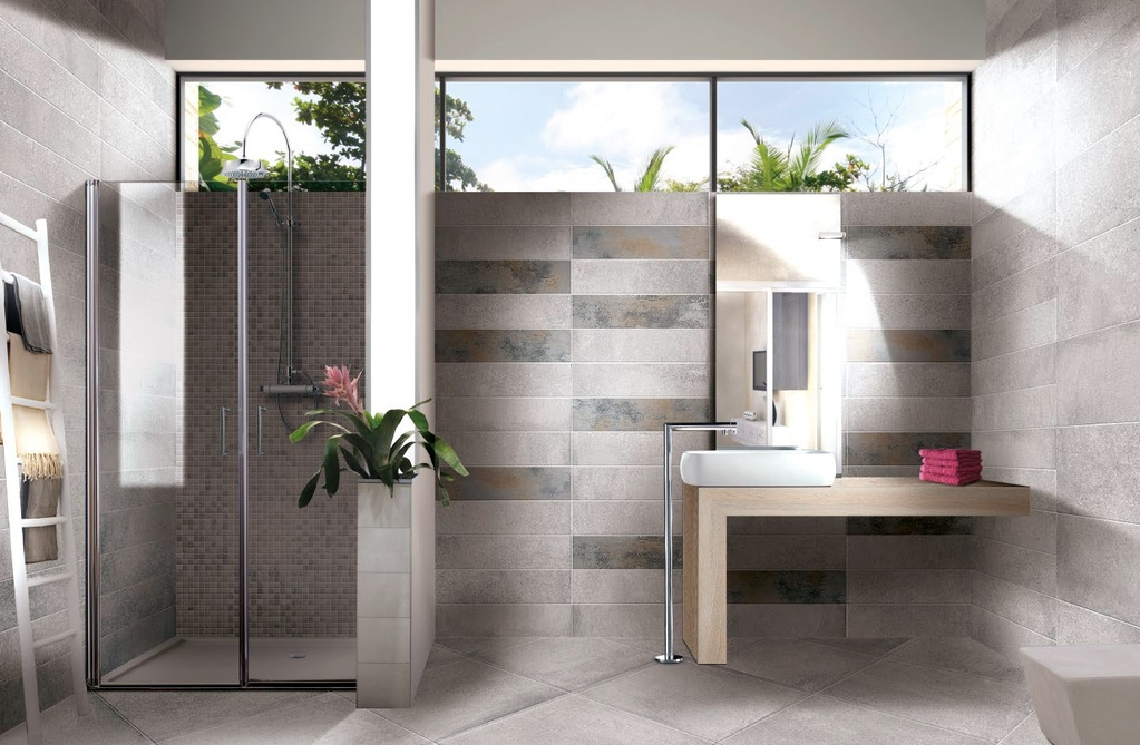 Moderní matný obklad v koupelně Brennero Now Iron a grey