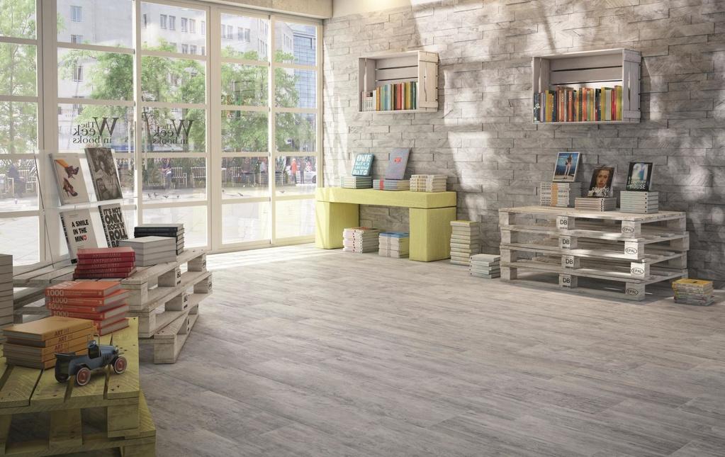 Dlažba dřevené prkno s mozaikou Ricchetti Cortex 3.6 Light Grey & Mos. 3D Light Grey