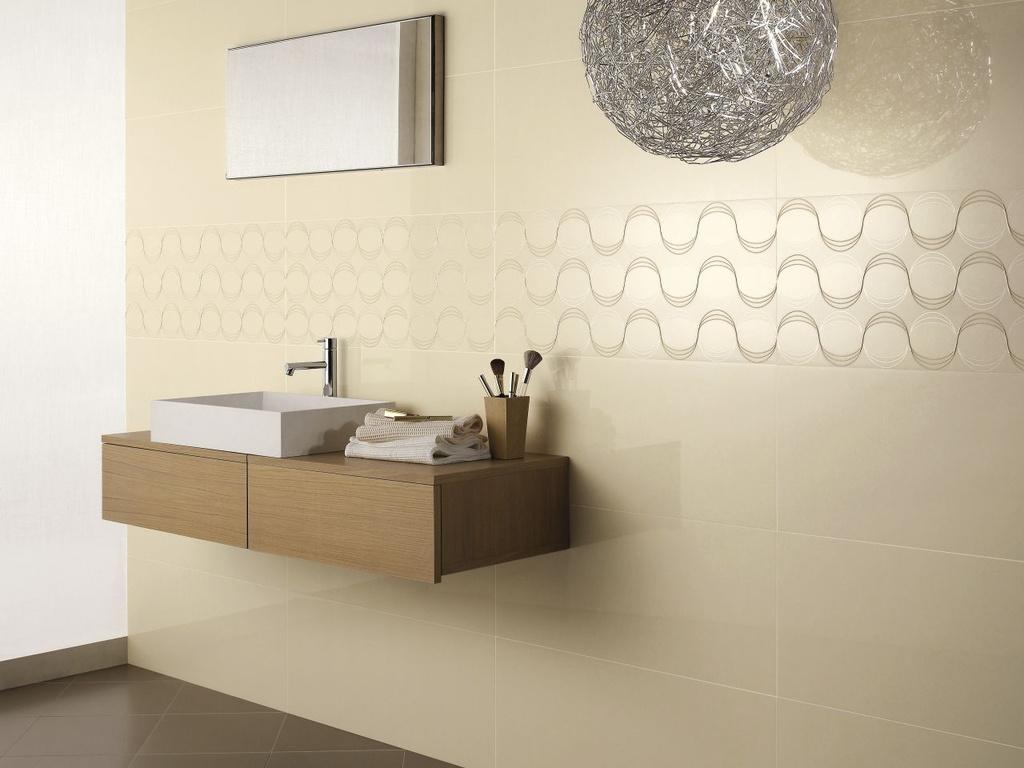 Rektifikované obklady v koupelně Ricchetti Exo Jute, Dec. Wave & Taupe