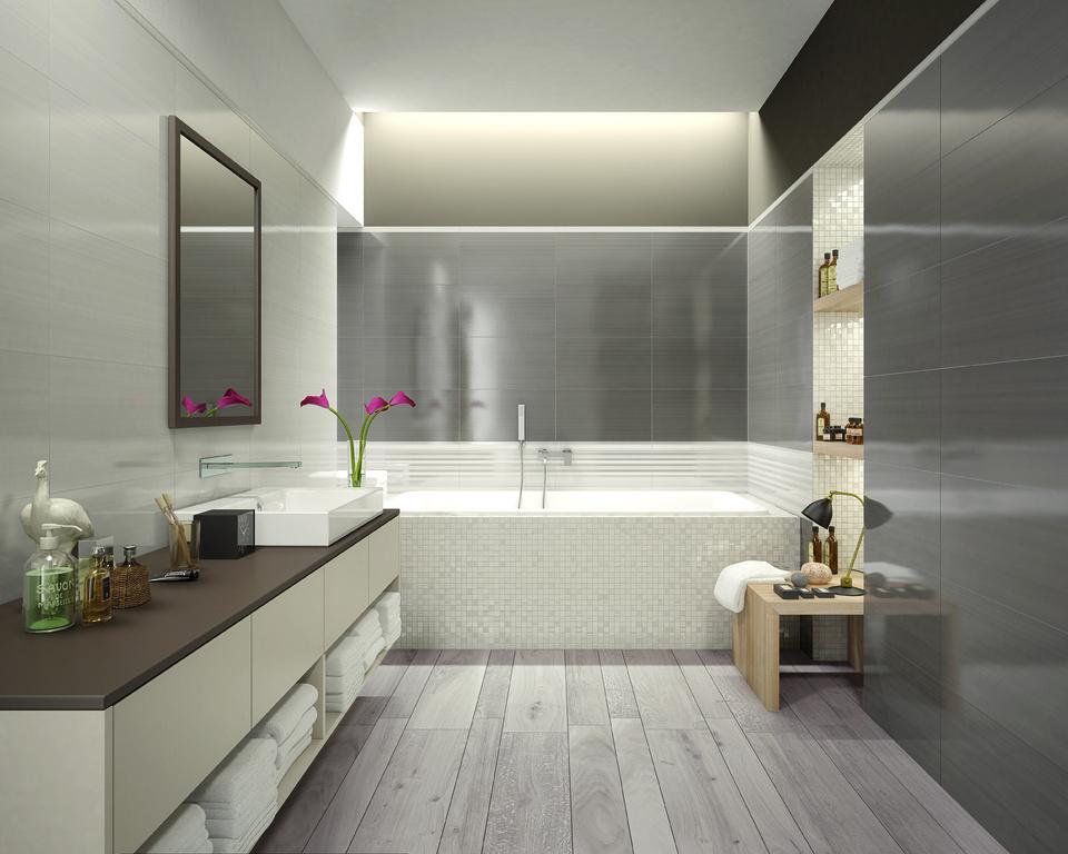 Dřevo na podlaze v koupelně Marca Corona Desire Nut & Grey