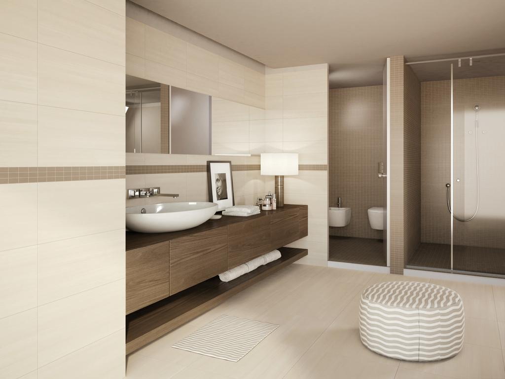 Návrhy koupelen se sprchou Marca Corona Streaming Ivory