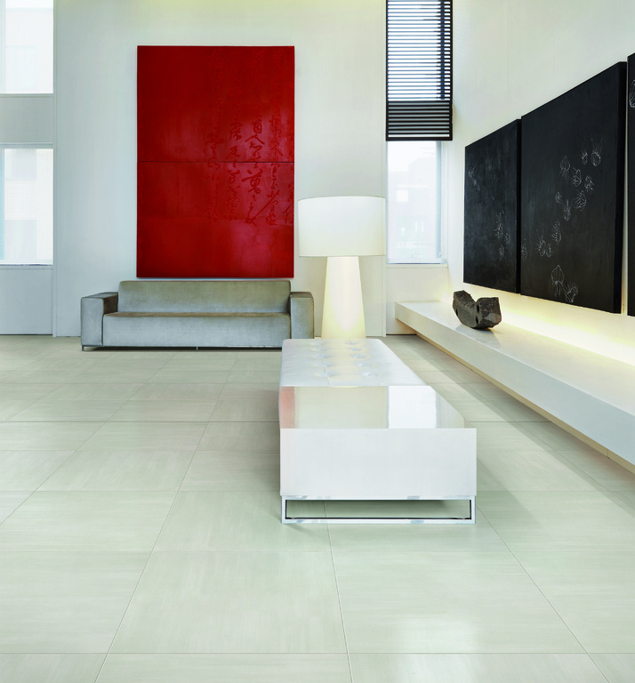 Bílá slinutá velkoformátová dlažba Refin Cromie Polvere 01