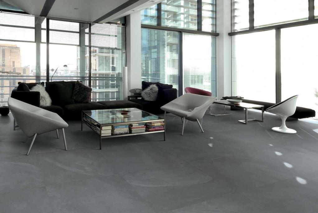Šedá minimalistická dlažba Ergon Architect Resin London Smoke