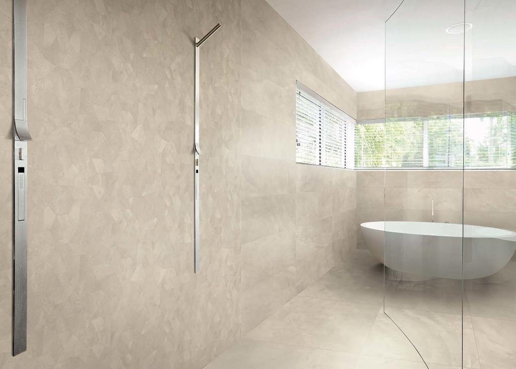 Minimalistická koupelna s obklady Ergon Playground New York Sand