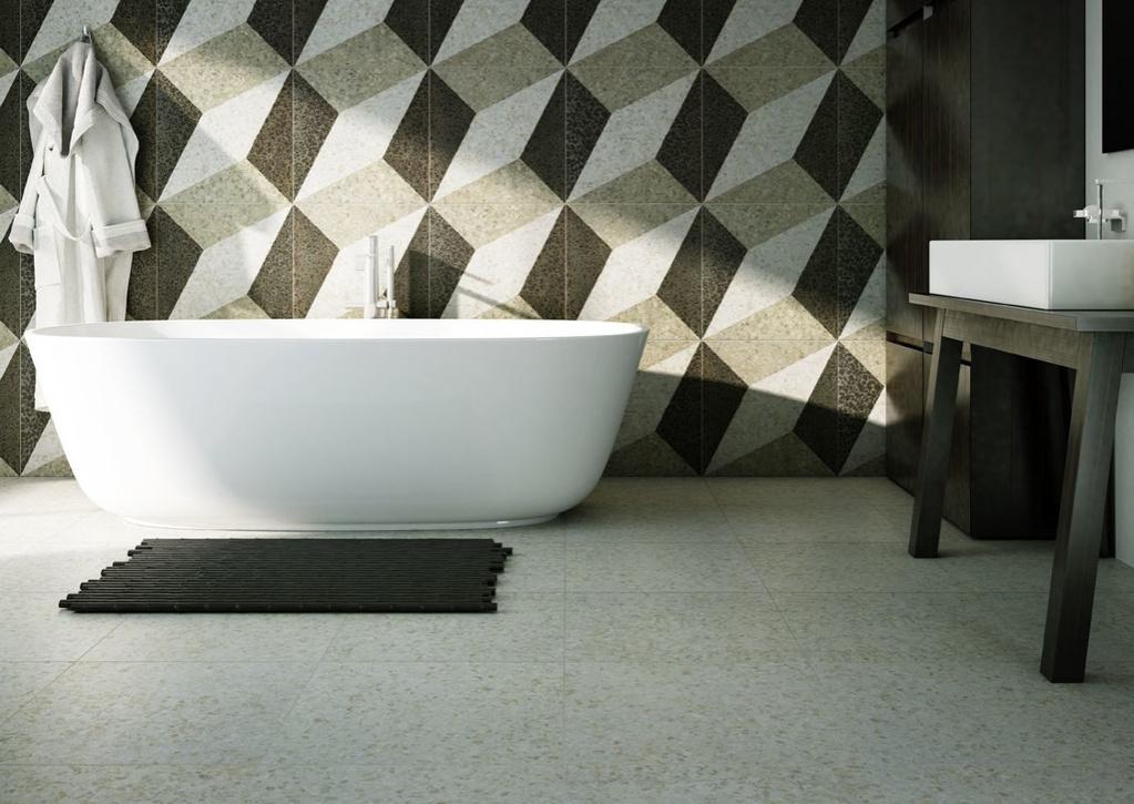 3D obklady v koupelně Settecento Accademia Bianco & Dec. Rombo