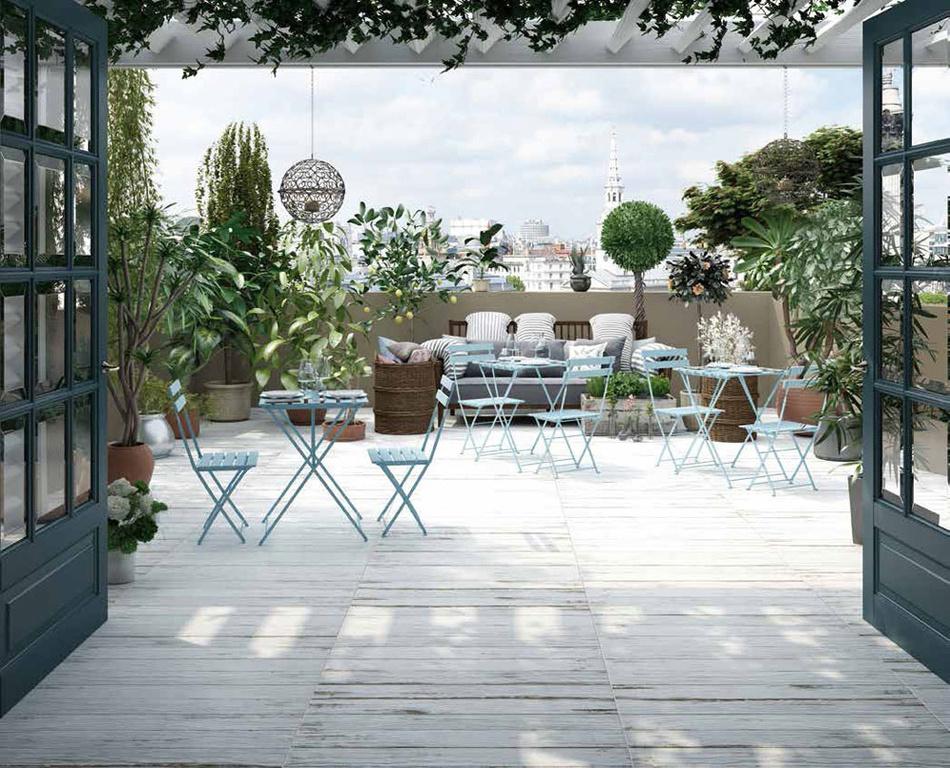 Dlažba na terase jako dřevo Settecento Bistrot Bianco