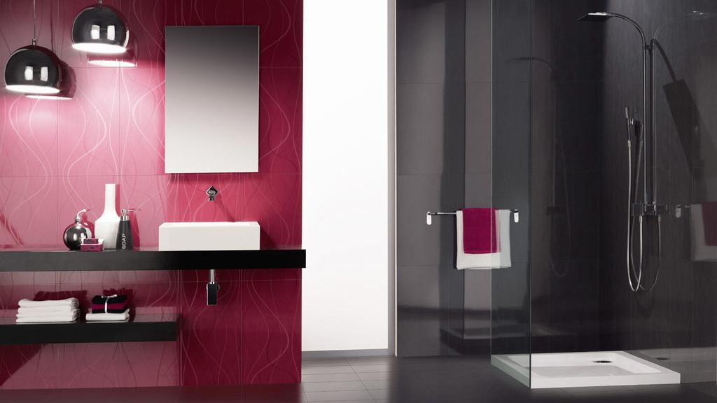 Fialovo černá koupelna Ceramic Blur Dec. Seaweed Blur Fuschia Brilho