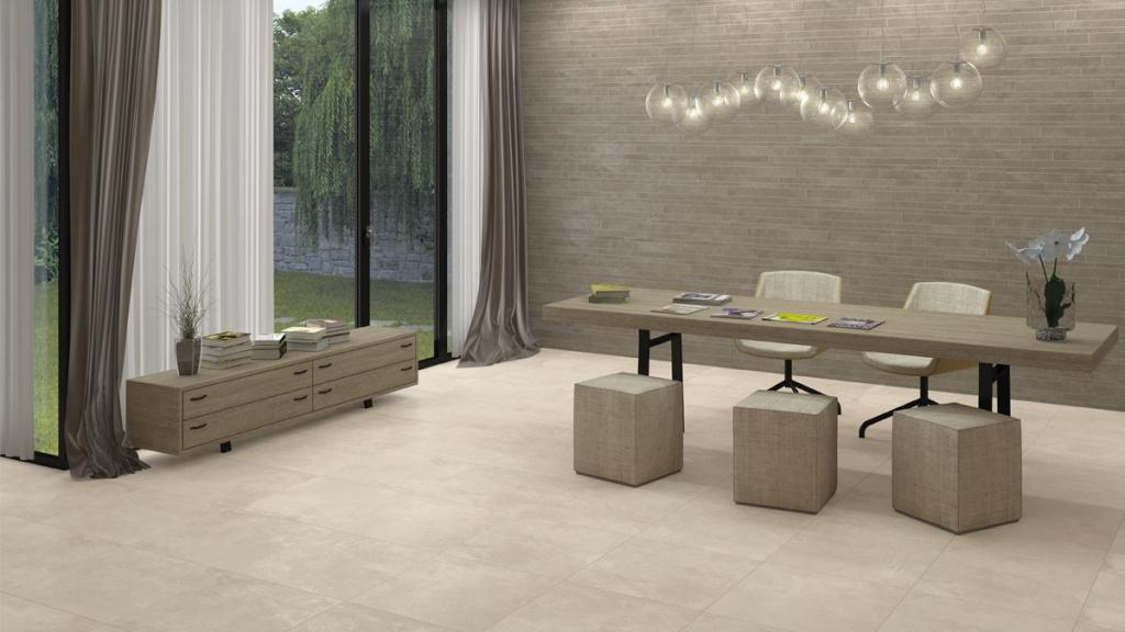 Dlažba a obklad  s kamenným designem Ceramic Kompact Taupe & White