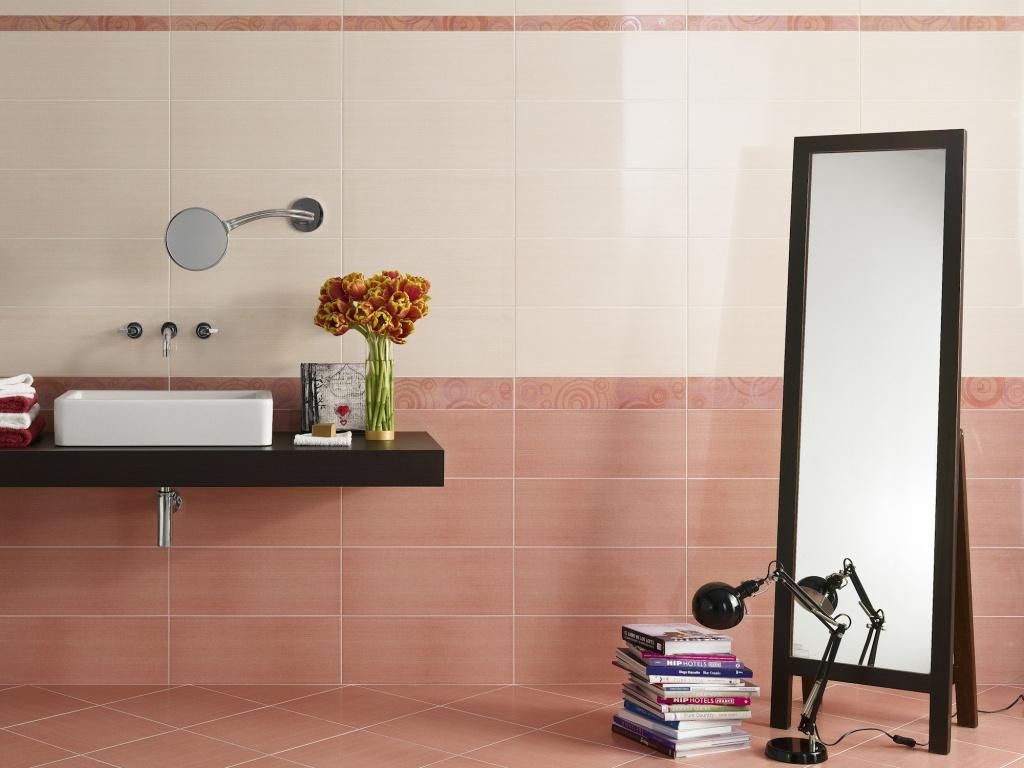 Lososová barva koupelnových obkladů Ascot Preziosa Topazio & Corallo