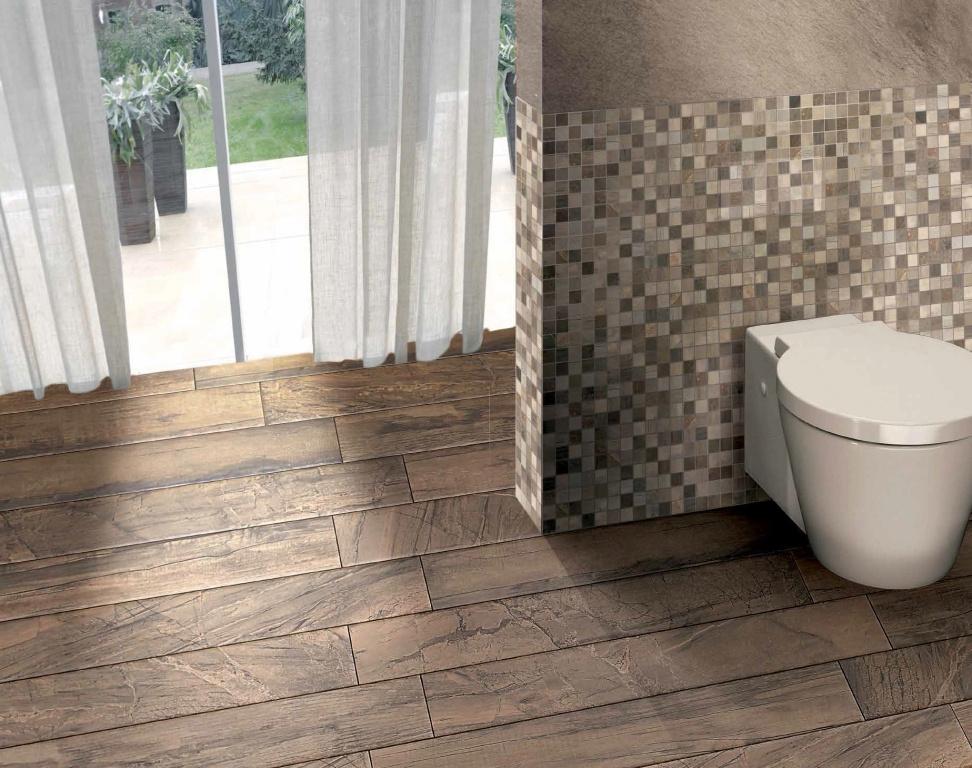 Hnědé zkamenělé dřevo Brennero Infinity Avana & Mosaico Quadralo Sabbia