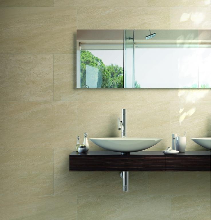 Béžový granit v koupelně Cerdomus Lefka Maxi Gold
