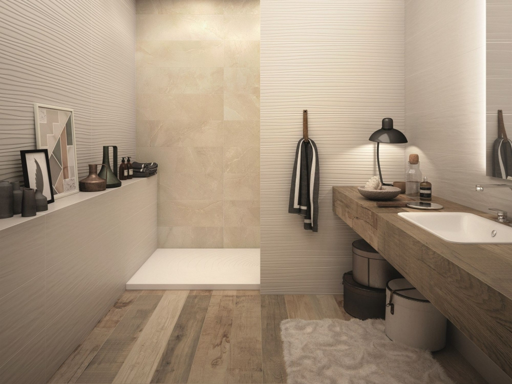 Obklady do panelákové koupelny ukázky ABK Sensi Sahara Cream Sablè & Touch Feel Ivory