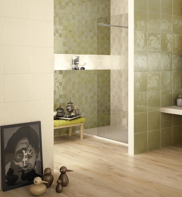Obklady koupelna levně Naxos Shard Sqaure Grey / Shard Check Willow