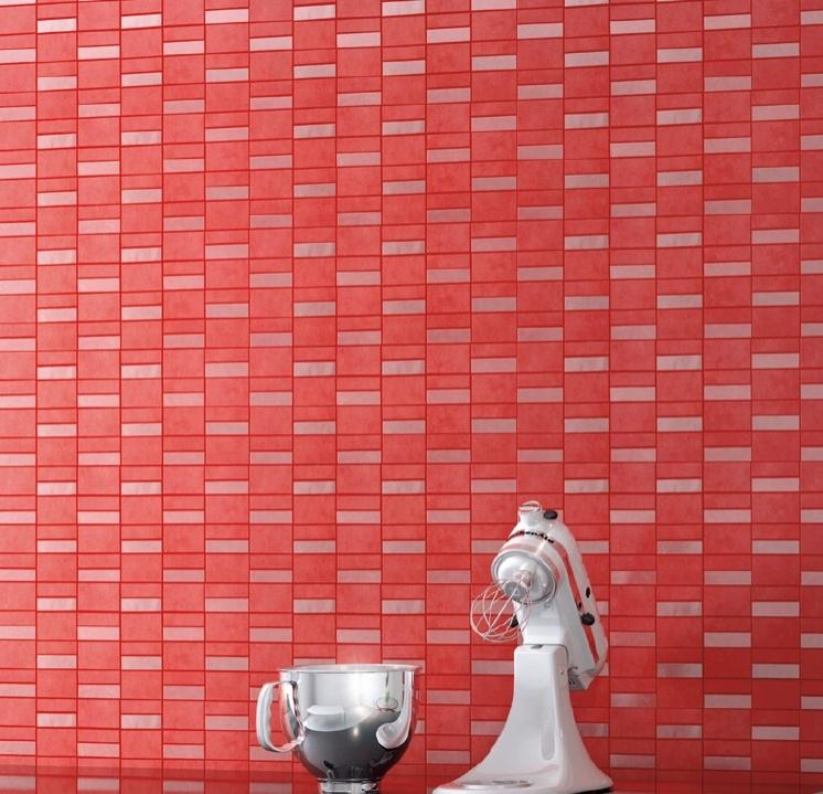 červená obdélníková mozaika do kuchyně Ceramic Stucchi Crimson Mosaic