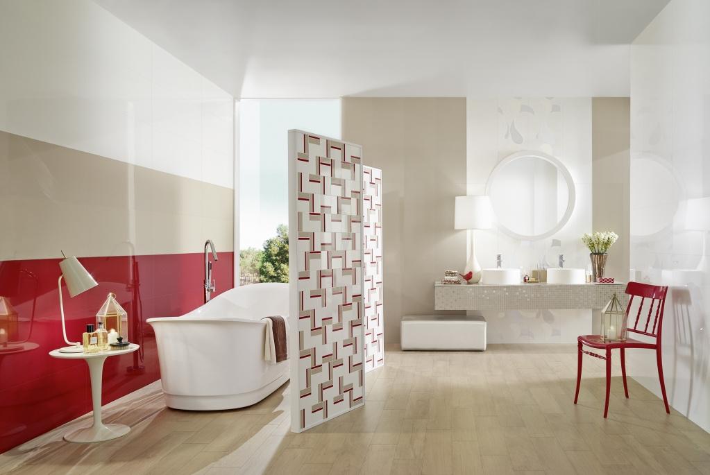 Červené obklady do koupelny LOVE Acqua Bianco & Rubi & Beige