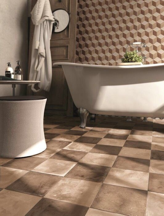 Retro obklady do koupelny Marca Corona Terra Ocra & Rosso & Esagono Cubo C.