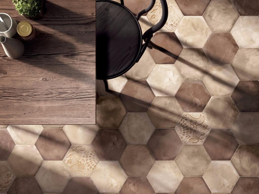 Retro šestiúhelníková dlažba Marca Corona Terra Ocra, Rosso, Avorio & Mix Decor Esagono C.