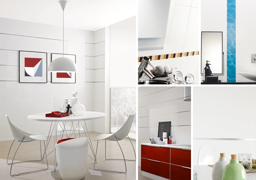 Bílý obklad s doplňky Aleluia Ceramicas Série Brancos