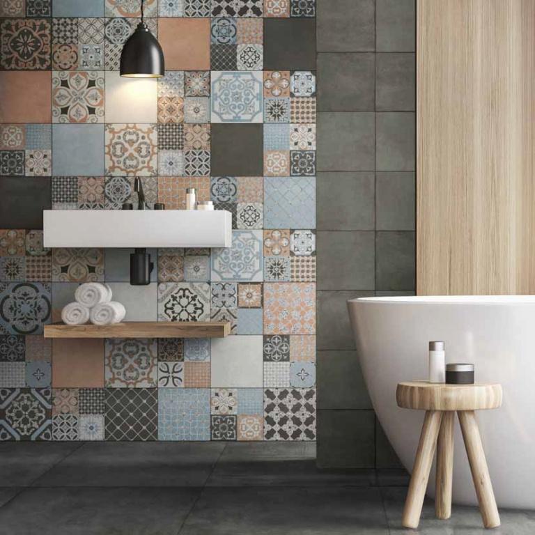 Patchwork obklady v koupelně Del conca Abbazie AB18, AB8, Notre Dame Mosaico
