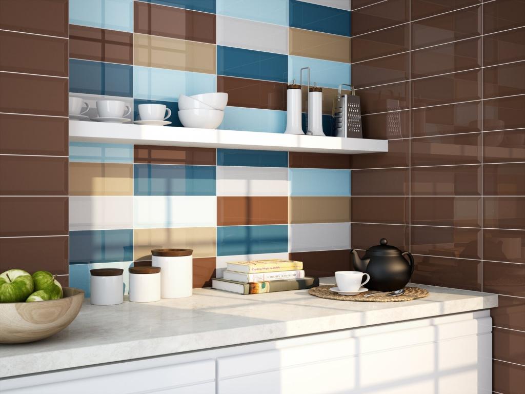 Hnědý a modrý obklad  Obklad do Kuchyně ve více barvách Ape Série loft