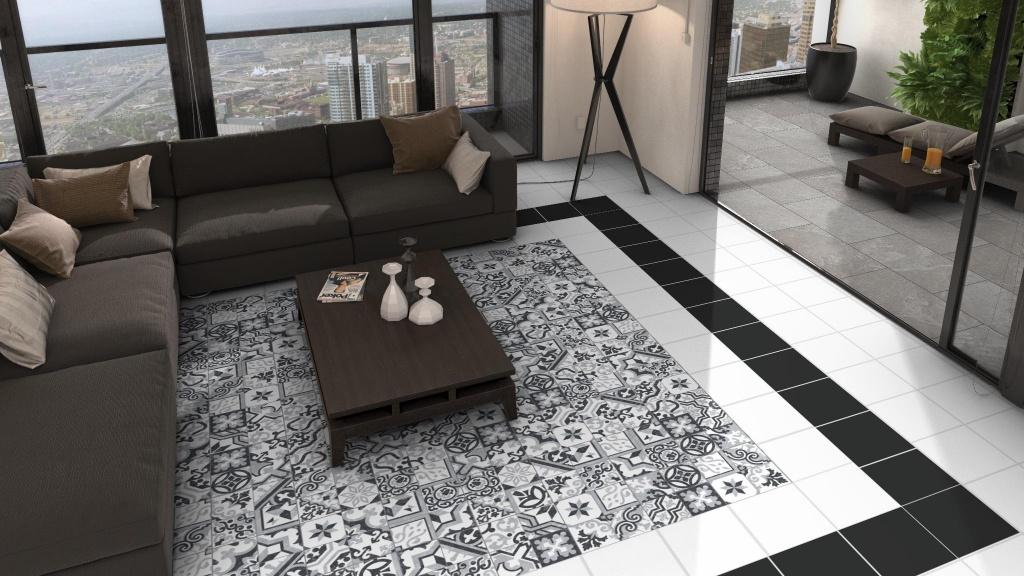Kombinace dekorů s jednobarevnými dlažbami Codicer Borne Black