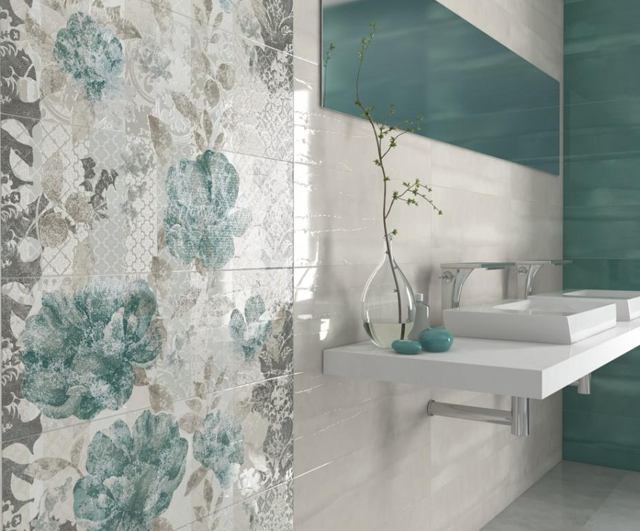 Tyrkysové obklady do koupelny v moderním stylu Arcana Aquarelle.