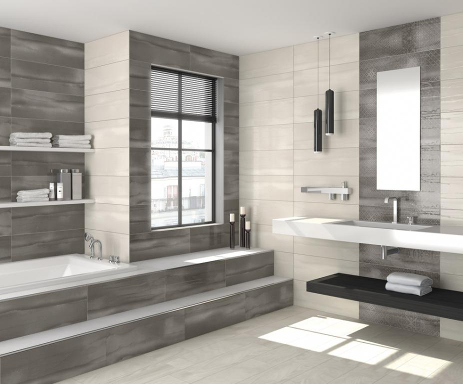 Šedé obklady do koupelny v moderním stylu Arcana Aquarelle.