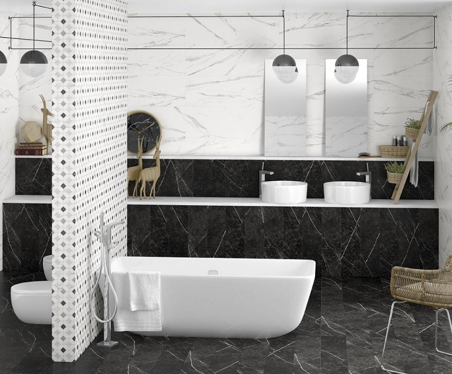 Černobílé obklady do koupelny Arcana Oberon