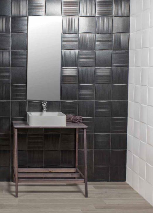 Černé obklady do koupelny s drážkami Azuvi Stripe Black Spark