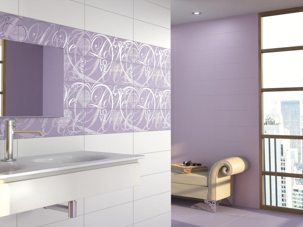 Fialové koupelnové obklady se srdíčky a nápisy Love od výrobce Ape Adorable