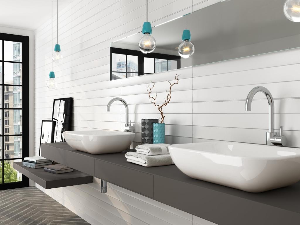Bílý lesklý koupelnový obklad od výrobce All White
