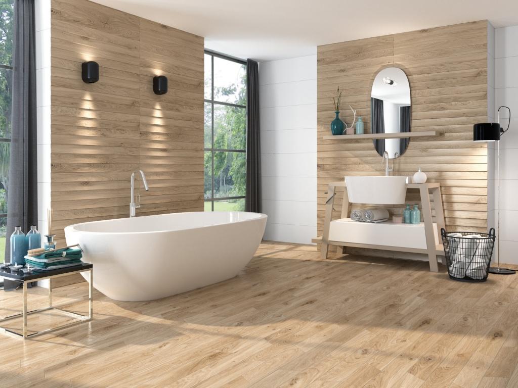 Koupelnový obklad s imitací dřeva od výrobce Ape All White