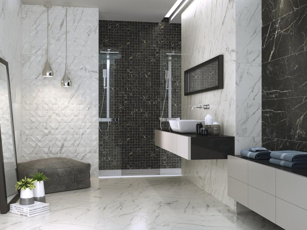 Mramorový obklad s přeloženými čtverečky do koupelny od výrobce Ape Apogeo