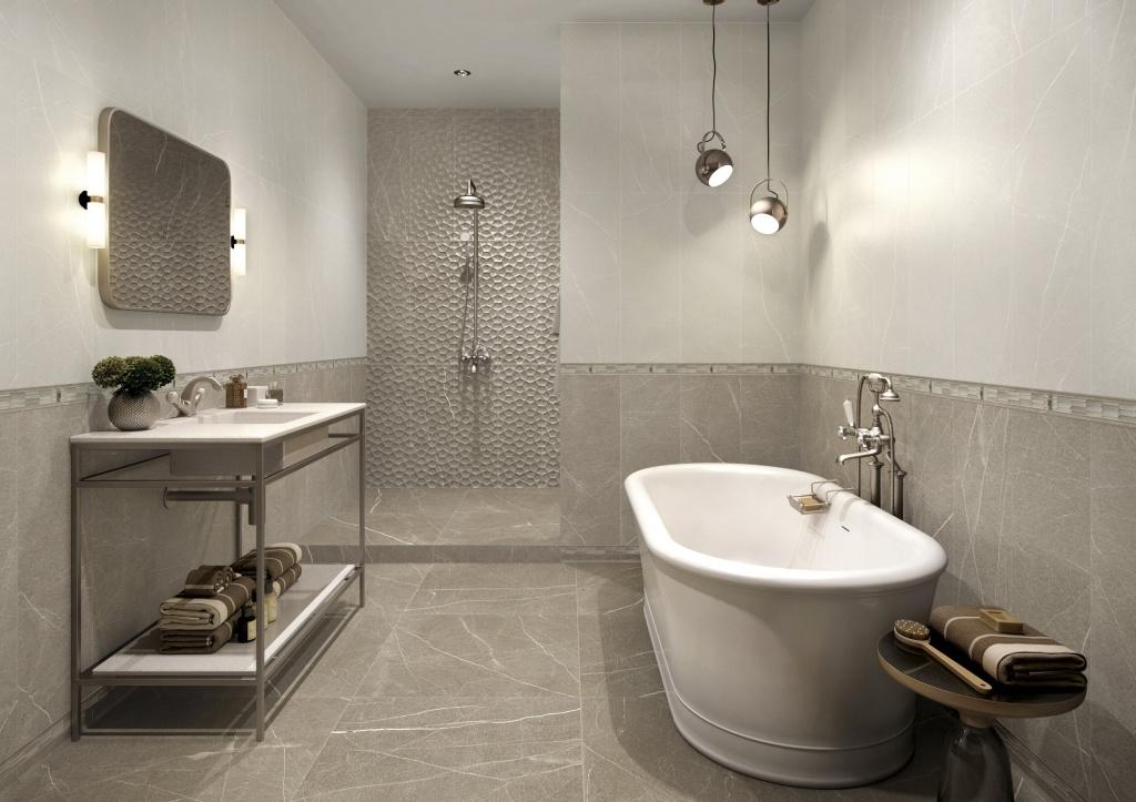 Šedo béžový koupelnový obklad se vzorem Baltimore od výrobce APE