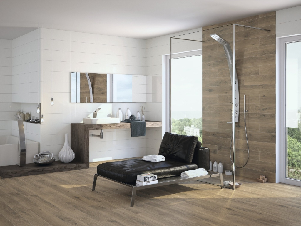 Dlaždice do koupelny imitace dřeva APE Canadá