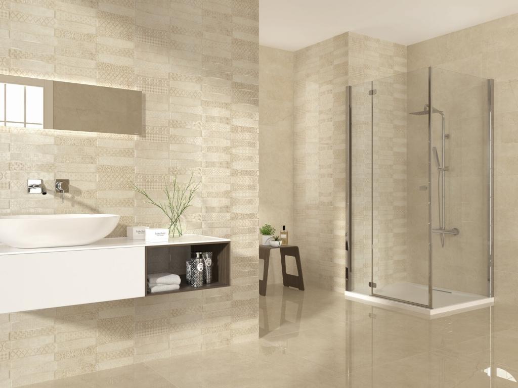 Světlý výrazný obklad se vzory do koupelny od výrobce Ape Excellence
