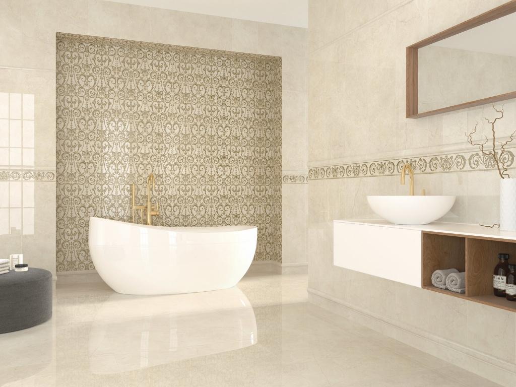 Světlý obklad do koupelny s pruhem vzorů od výrobce Ape Excellence
