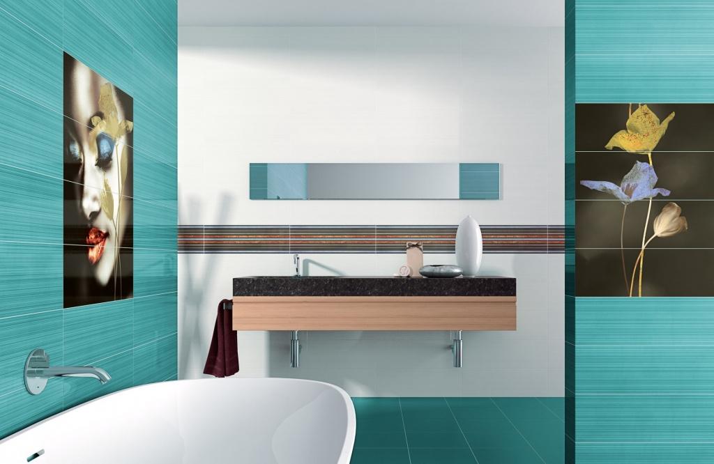 Koupelnový obklad modrý motiv Ape-Ligne