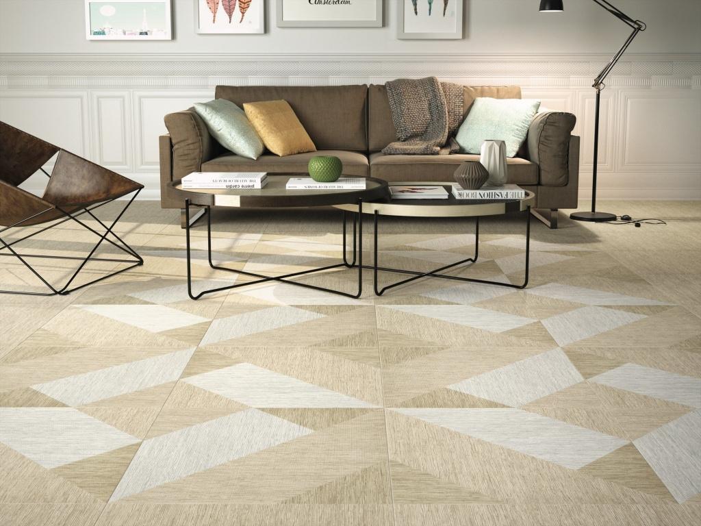 Bílo béžová dlažba Bali2 s geometrickým dekorem od výrobce APE