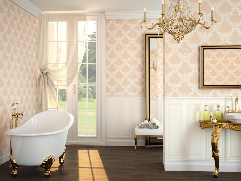 Narůžovělý dekorovaný obklad do koupelny Brocart od firmy APE