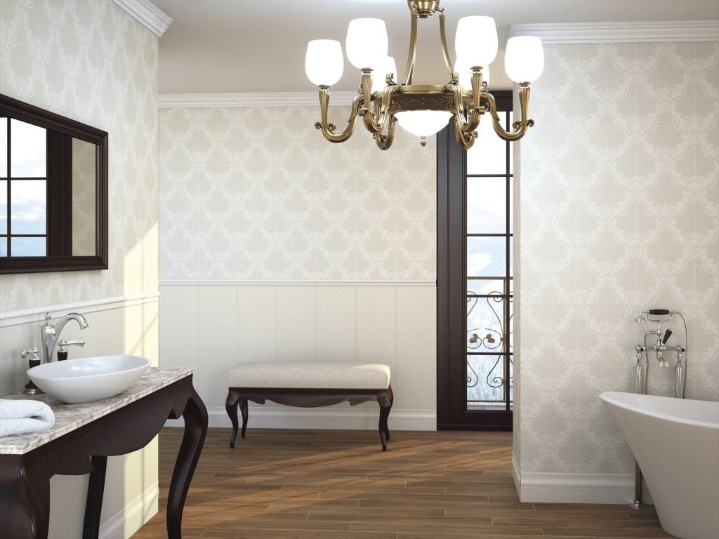 Světle šedý dekorovaný obklad do koupelny Brocart keramičky APE