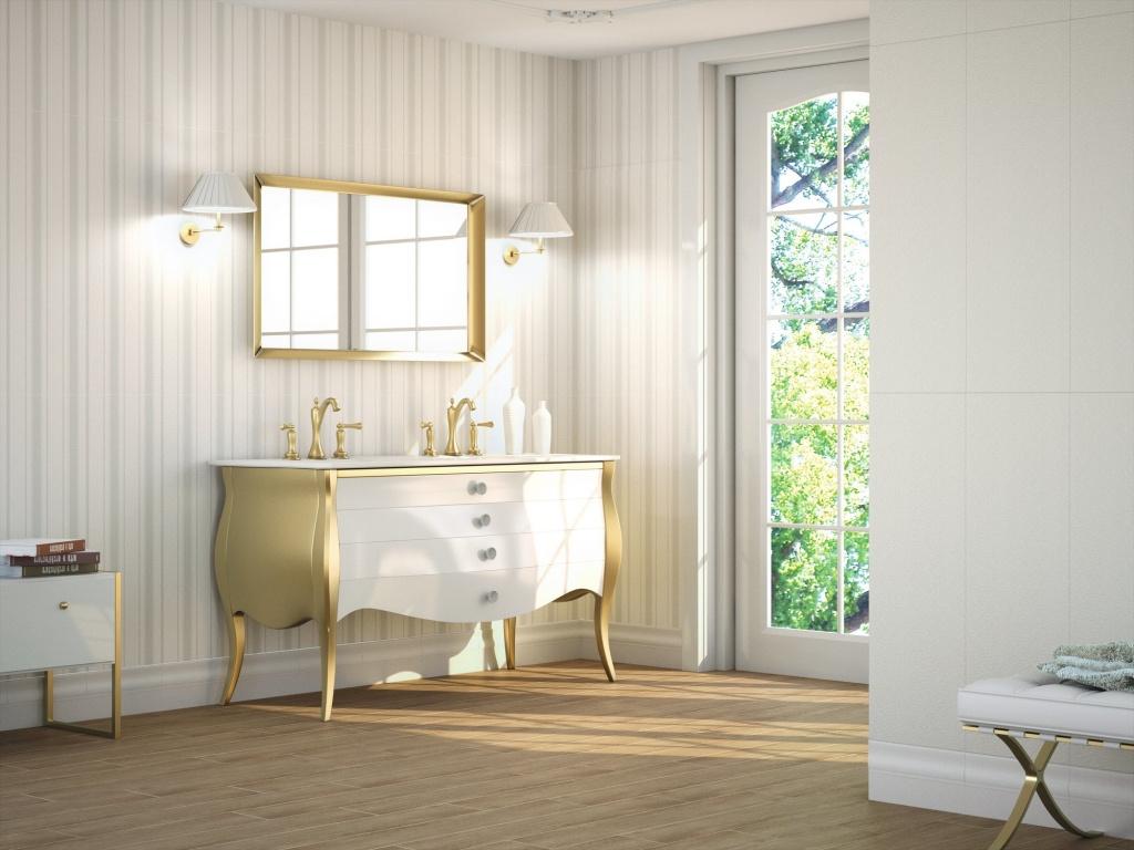 Bílý dekorovaný koupelnový obklad Brocart od výrobce APE