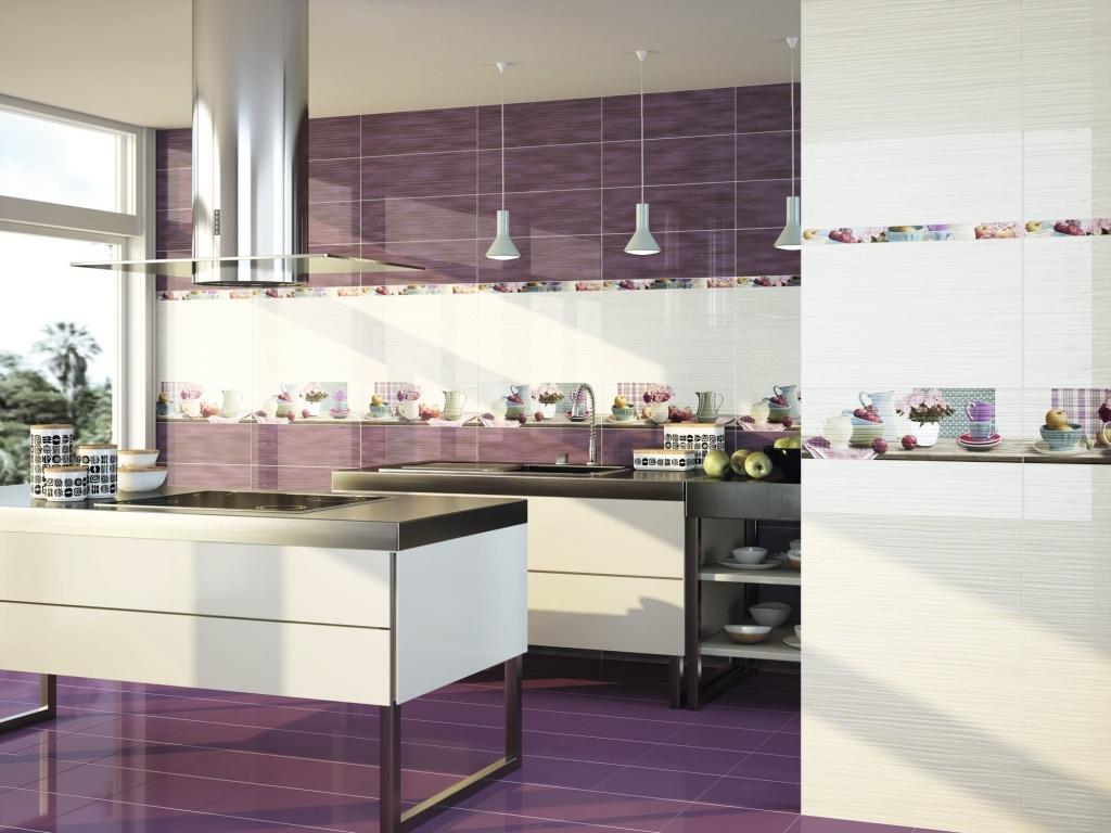 Fialový obklad s kuchyňským motivem od výrobce Ape Funny