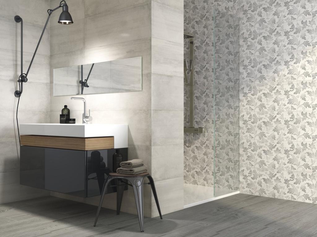 Šedivé minimalistické obklady do koupelny APE Chic.